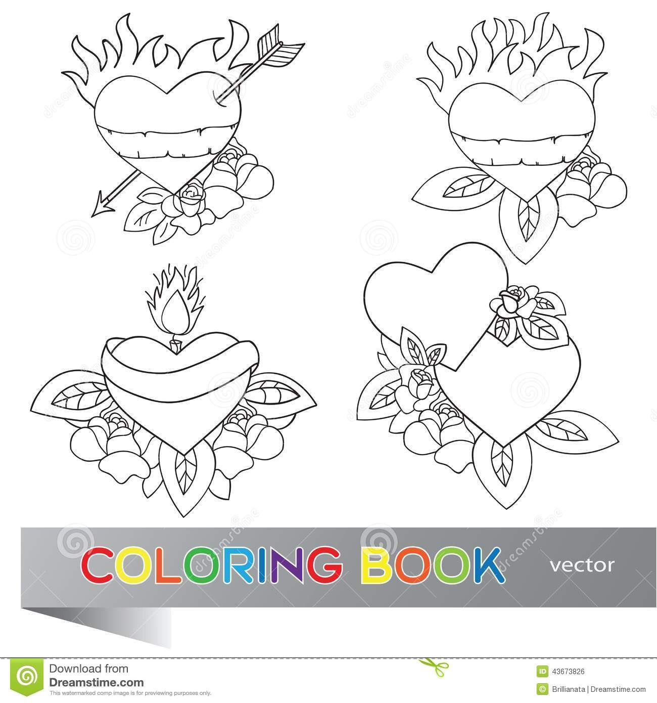 skull coloring pages - stock illustration heart tattoo design coloring book flash set image