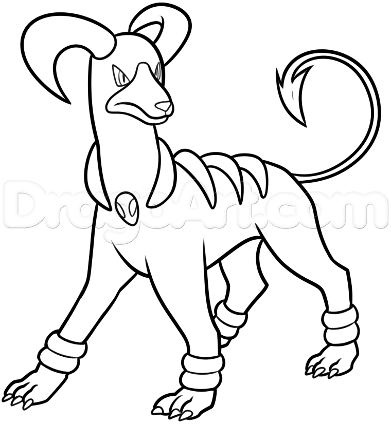 skull coloring pages - how to draw houndoom