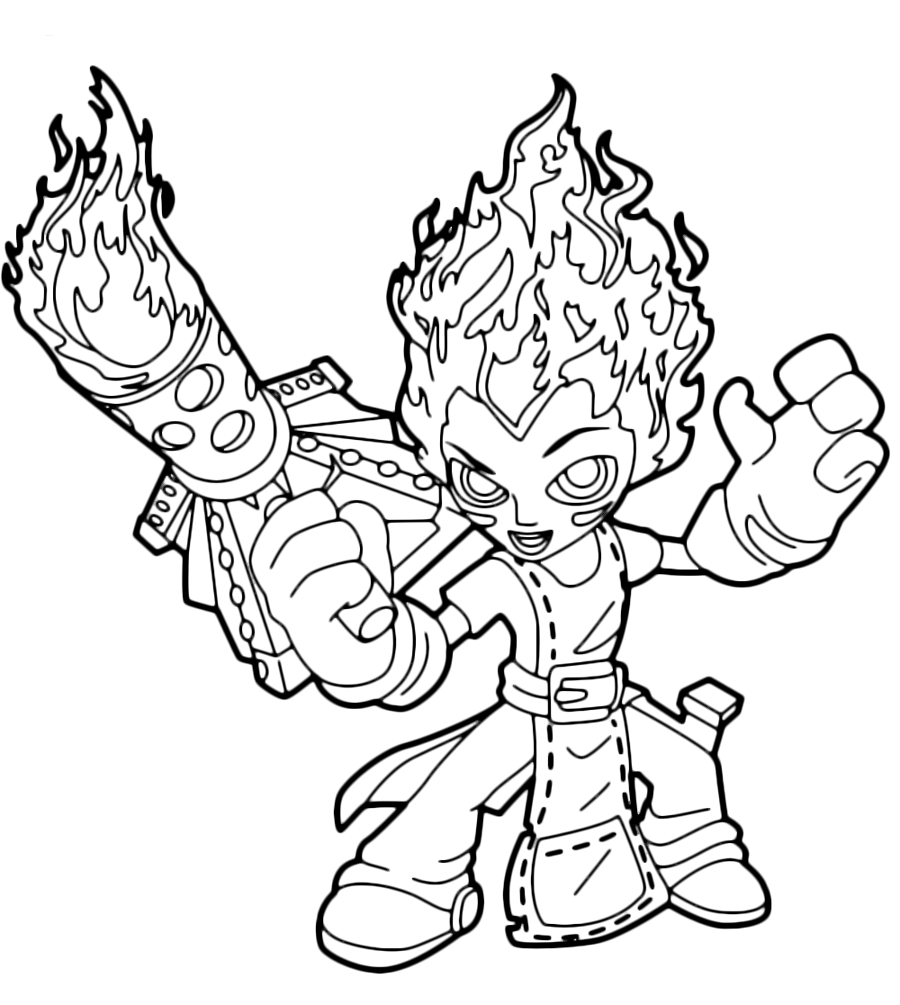 Sky Coloring Pages - Skylanders Trap Team torch Accendi Il Gas