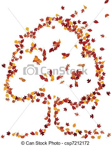 sky coloring pages - autumn leaves form a tree shape