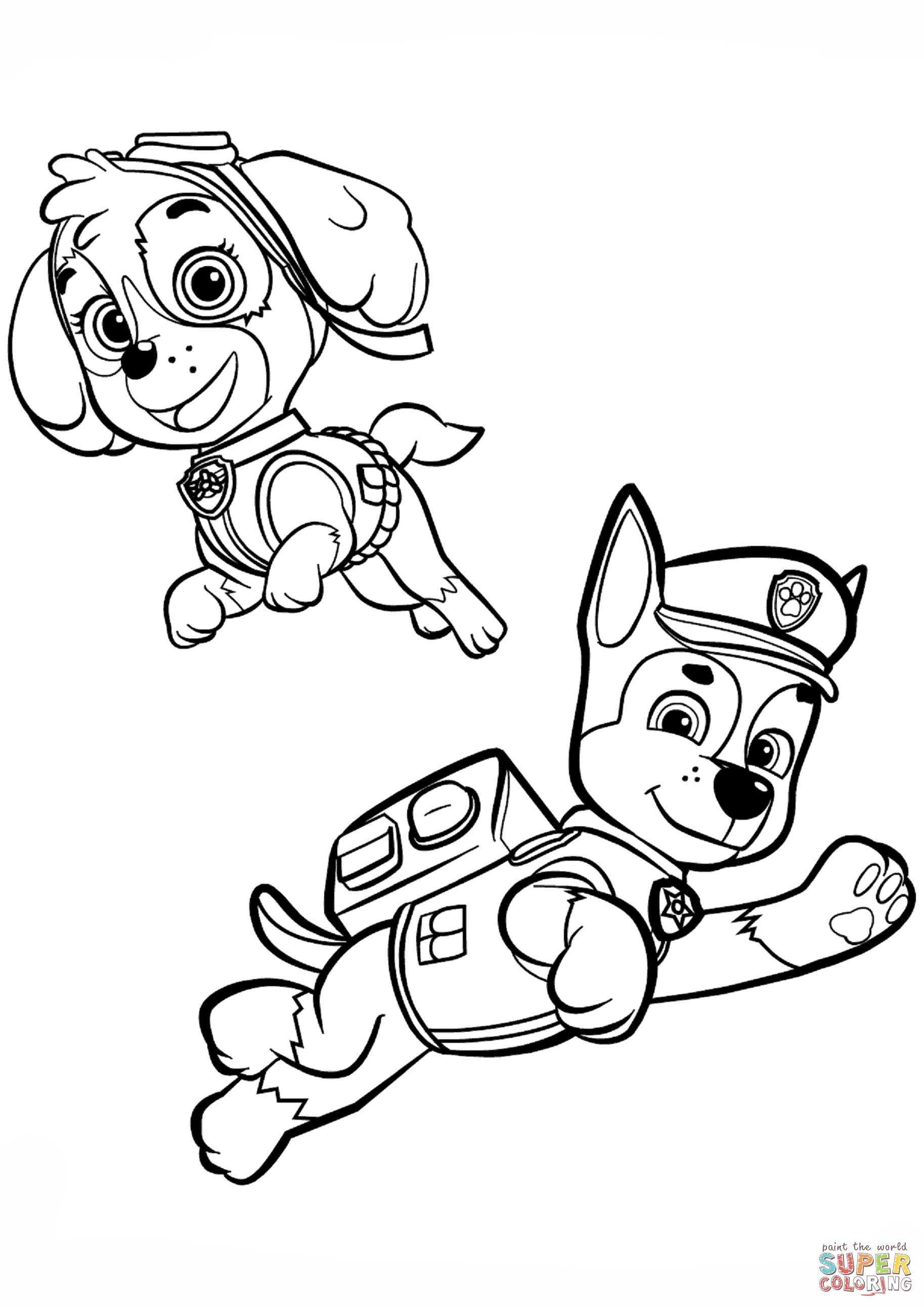 skye coloring pages - chase and skye