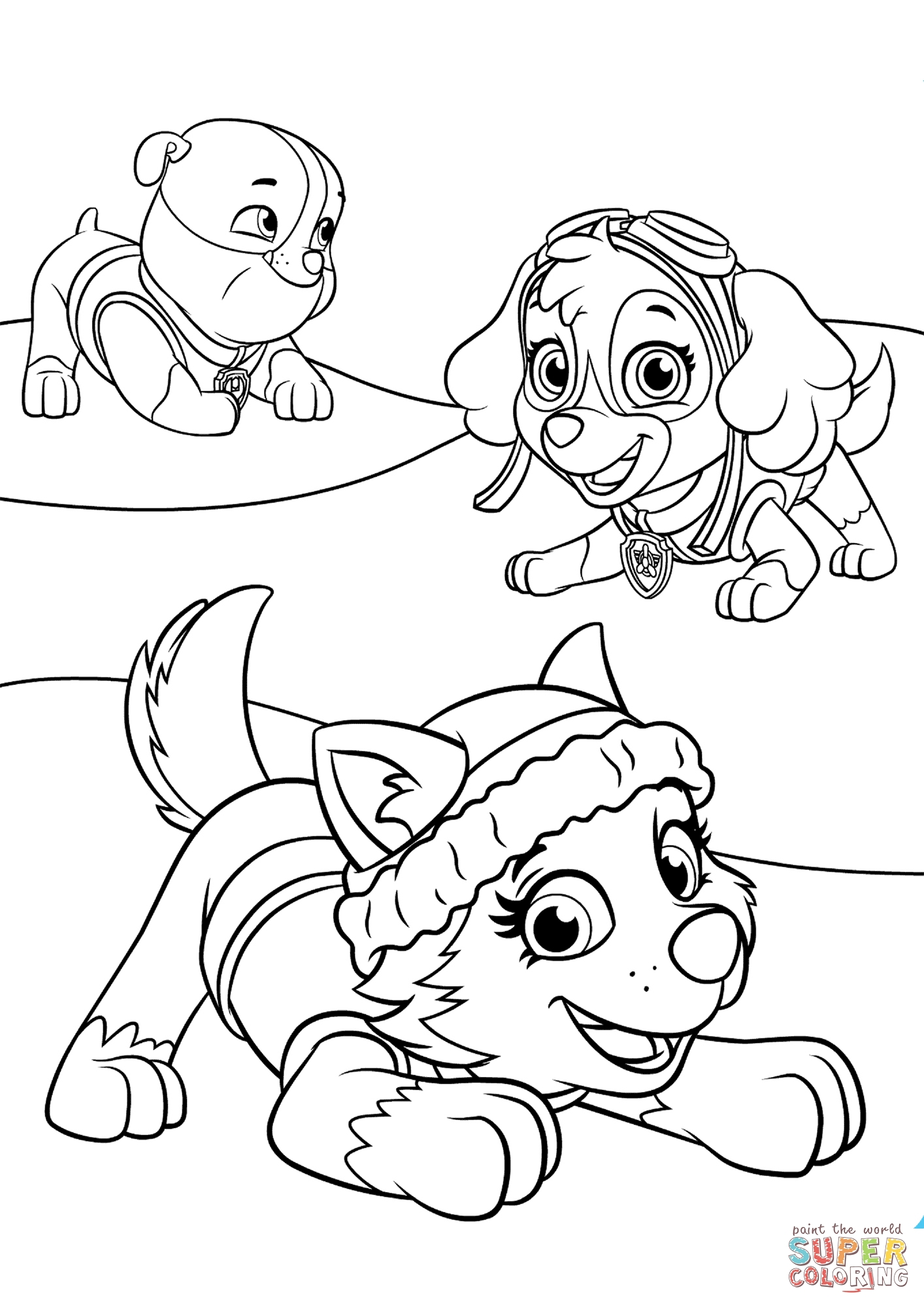 skye coloring pages - everest plays with skye and rubble