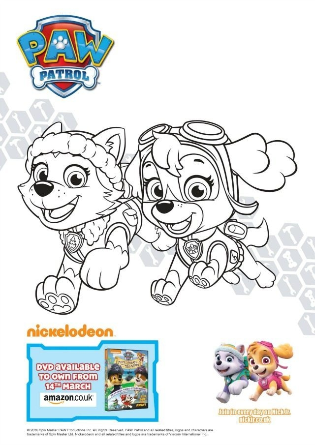 skye coloring pages - paw patrol colouring and activity sheets pups and the pirate treasure