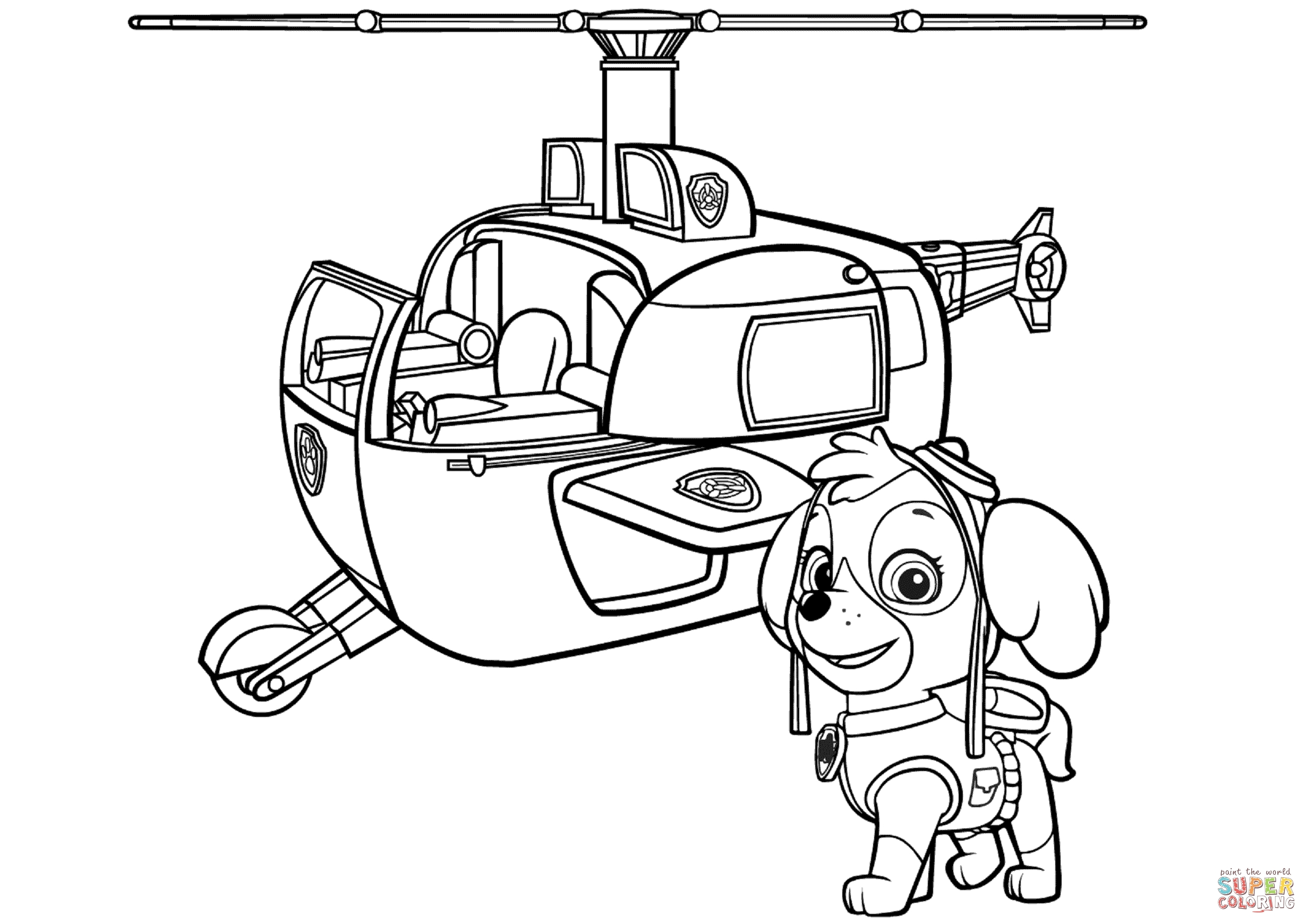 skye coloring pages - paw patrol skyes helicopter