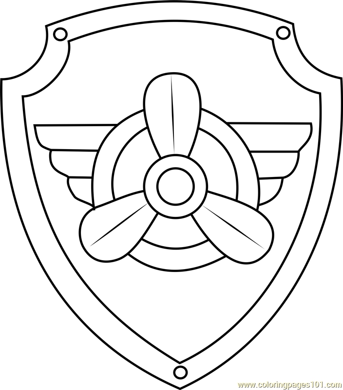 skye coloring pages - skye badge coloring page