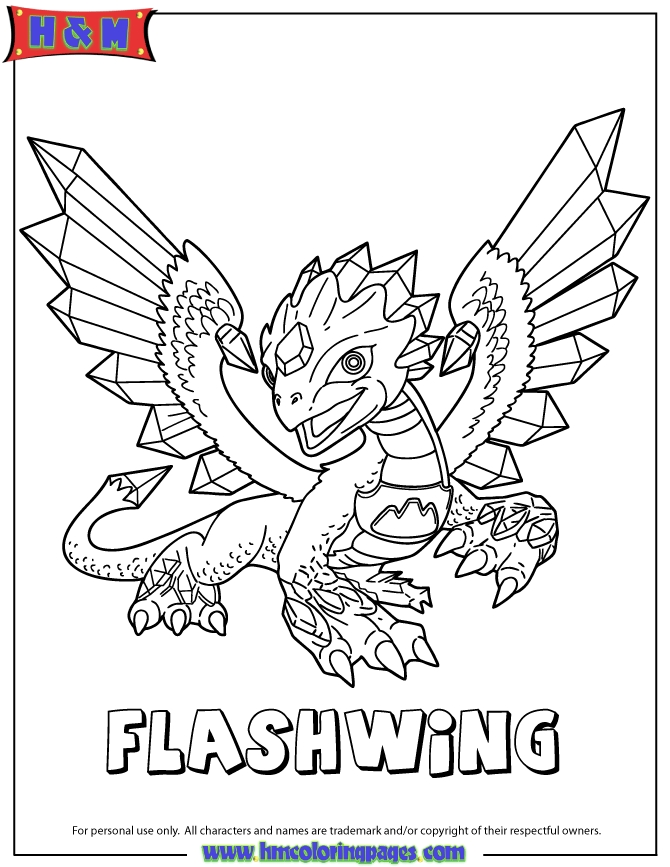 skylanders coloring pages - skylanders giants flashwing