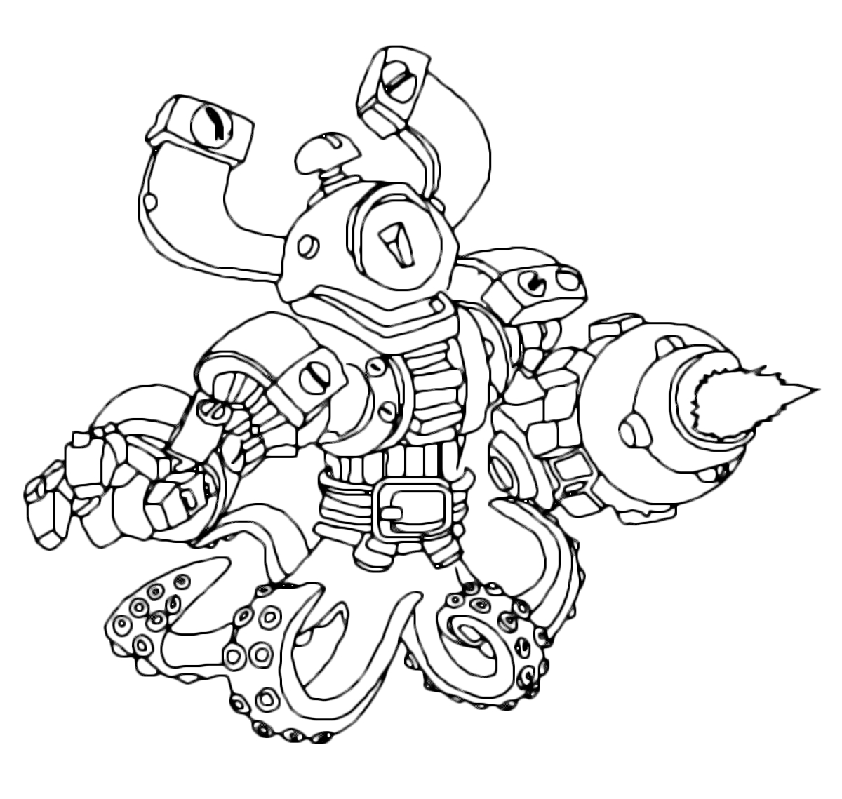 skylanders imaginators coloring pages - swap force magna buckler con le gambe da piovra