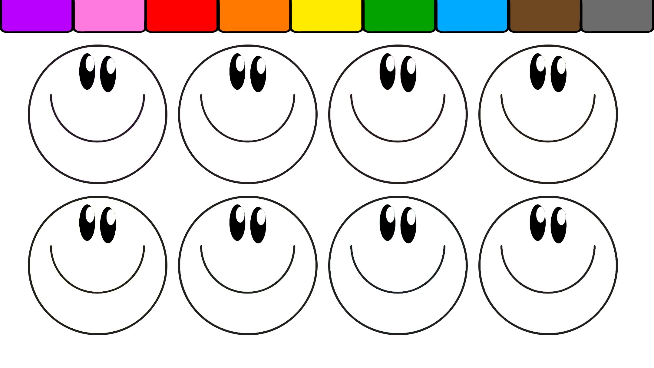 Smiley Face Coloring Page - Learn Colors for Kids and Color This Fun Smiley Face