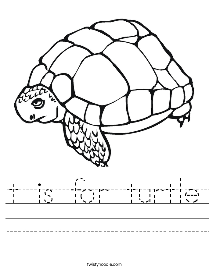 snake coloring pages - t is for turtle 6 worksheet
