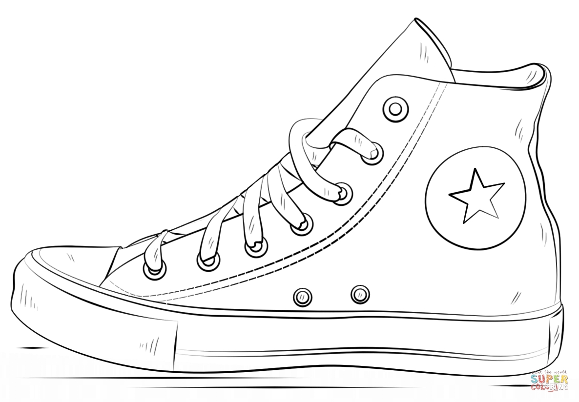 Sneaker Coloring Page - Converse Shoes Coloring Page