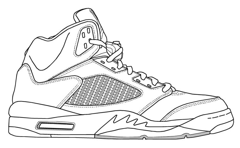 sneaker coloring page - nike jordans shoes drawings cliparts