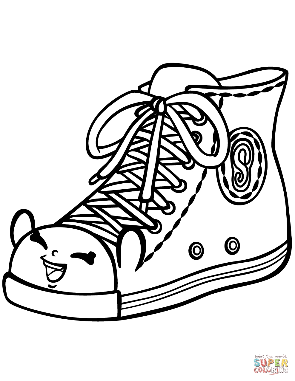 sneaker coloring page - sally sneaker shopkin coloring page