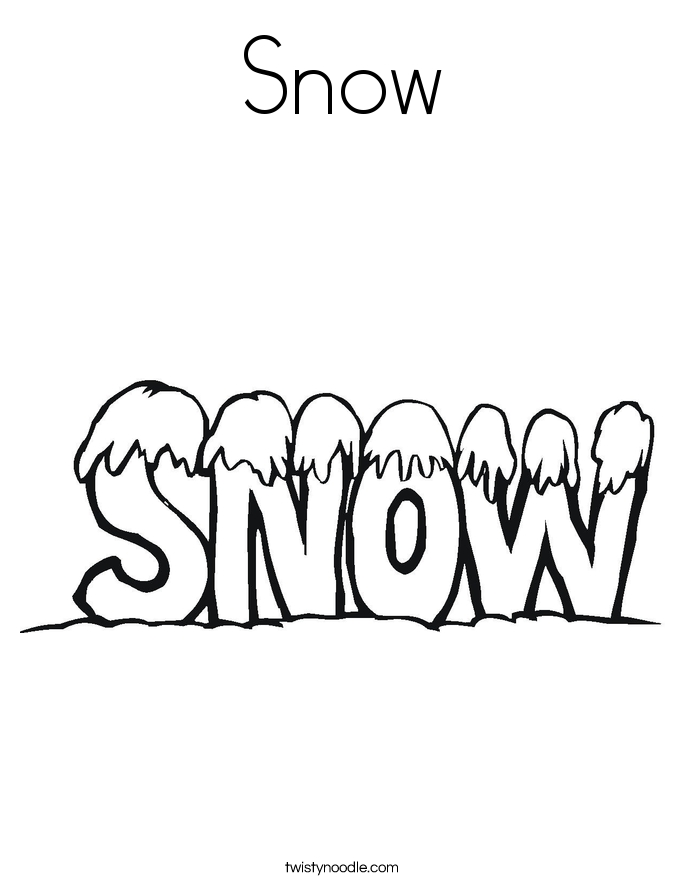 Snow Coloring Pages - Snow Coloring Page Twisty Noodle