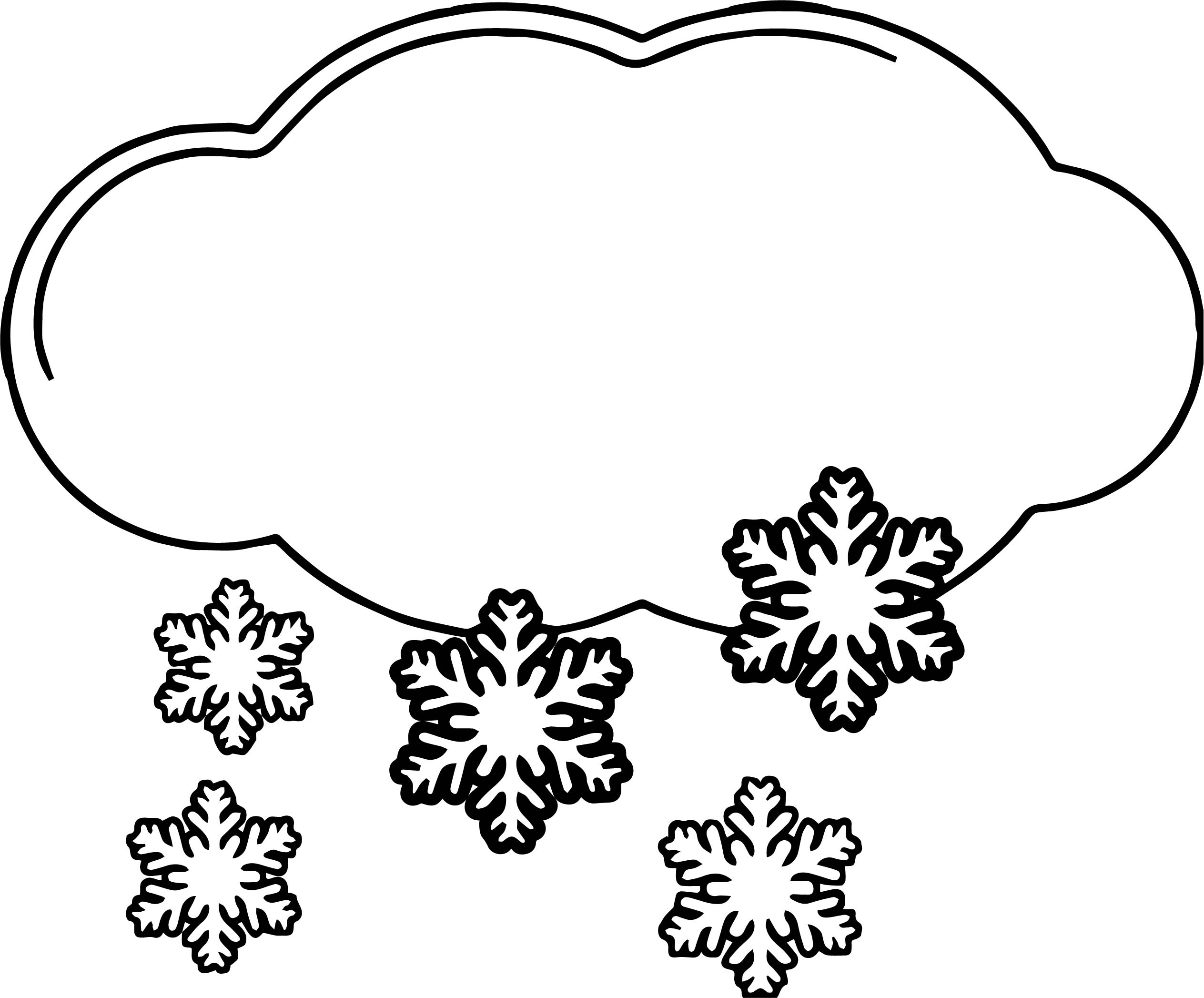snow coloring pages - winter cloud snow coloring page