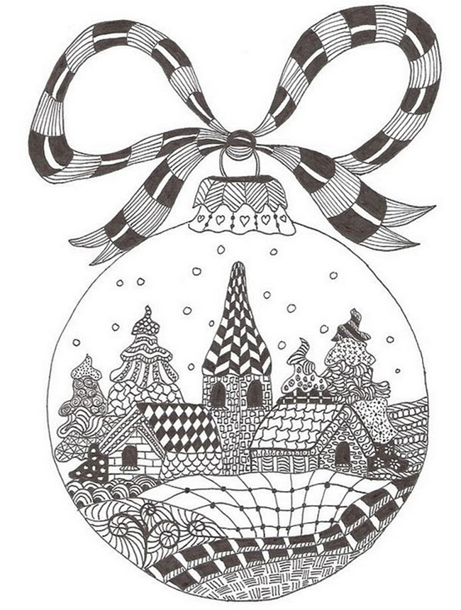 Snow Globe Coloring Page - Free Christmas Snow Globe Coloring Pages