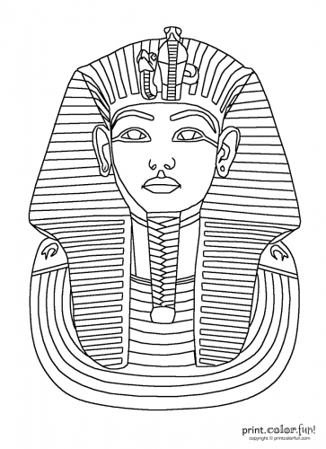 snow globe coloring page - king tut mask