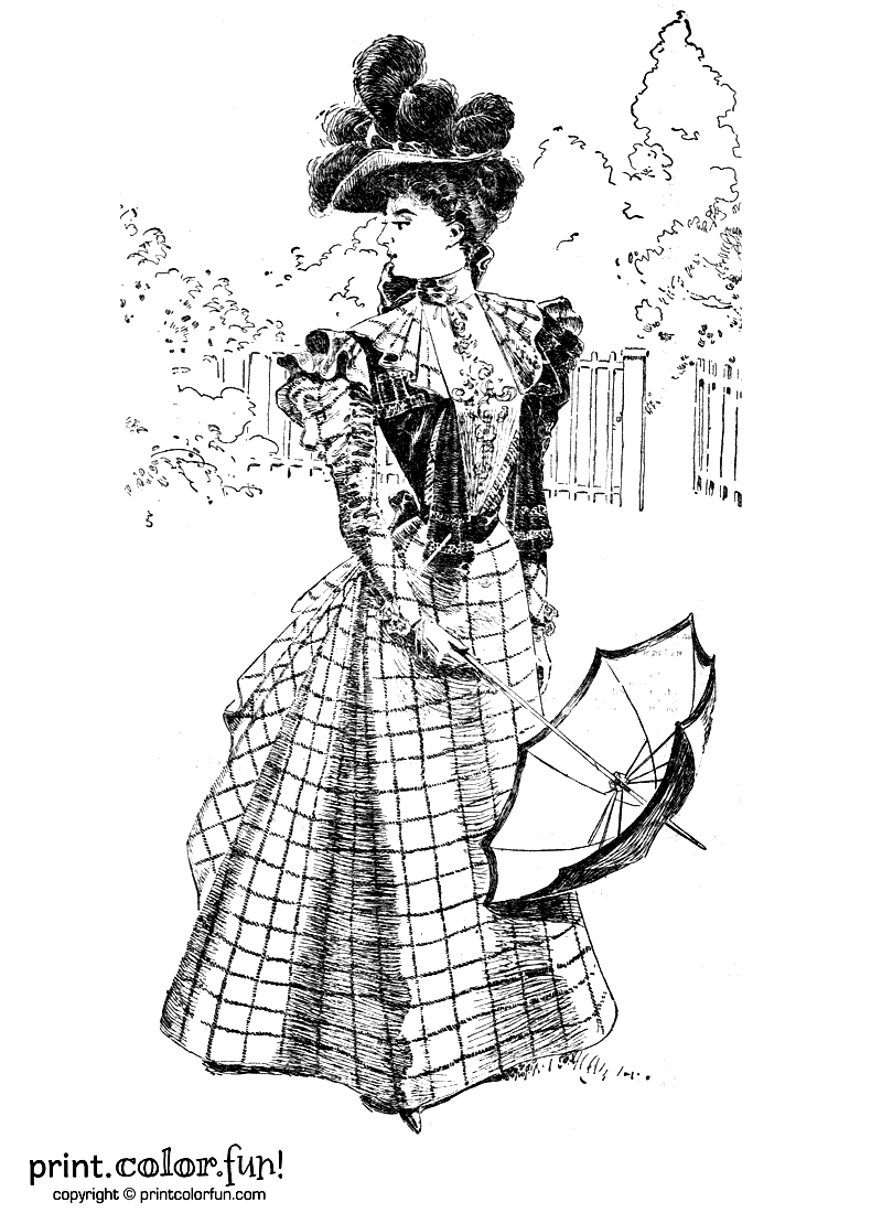 snow globe coloring page - woman in vintage victorian dress