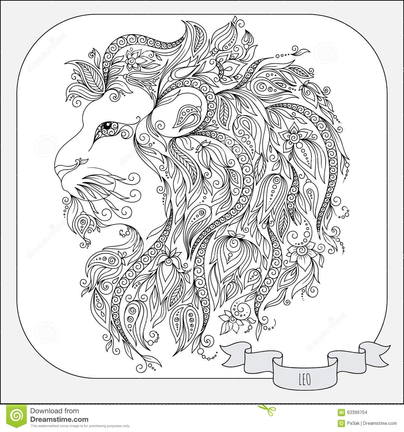 snow leopard coloring pages - stock illustration hand drawn pattern coloring book zodiac leo line flowers art horoscope symbol your use tattoo art books image