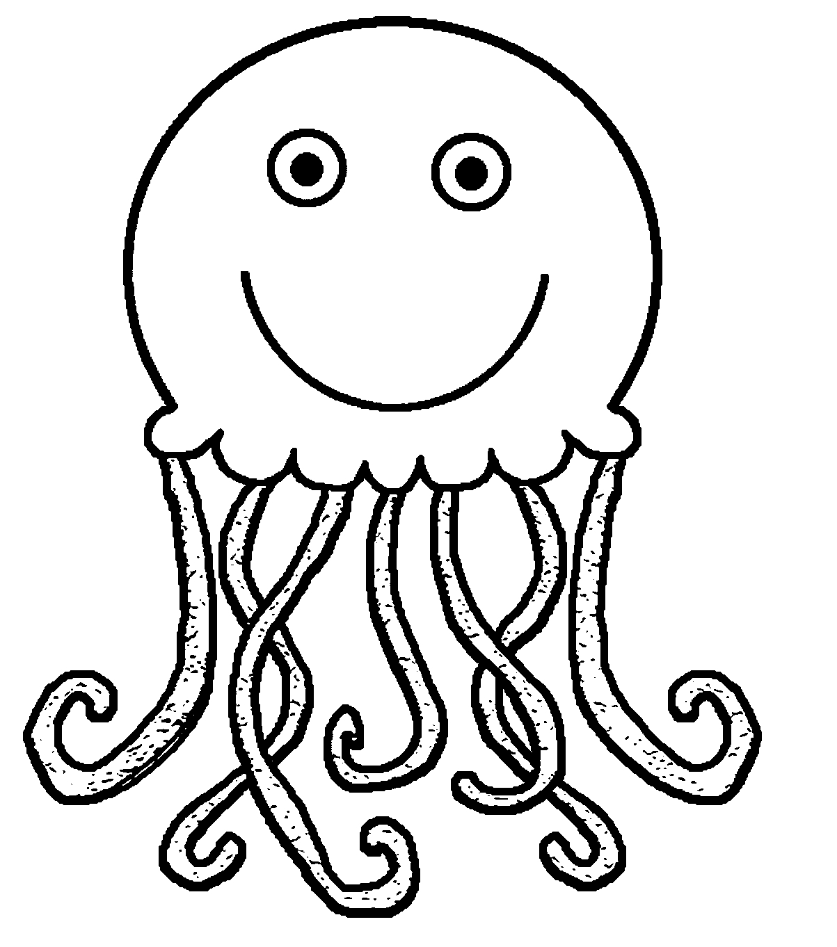 snowflake coloring page - black and white jellyfish clipart