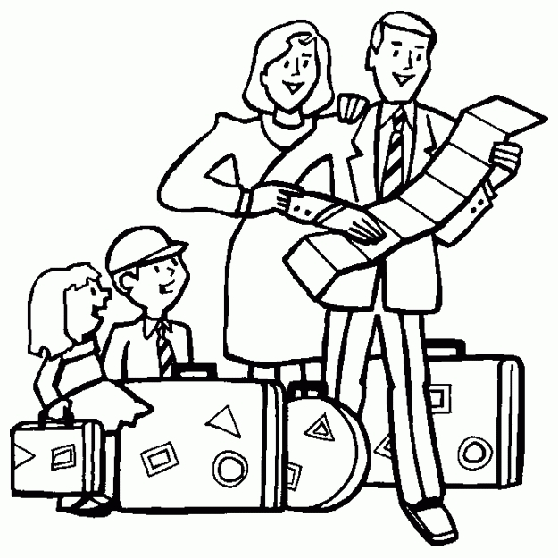 snowflake coloring page - family traveling on vacation 1