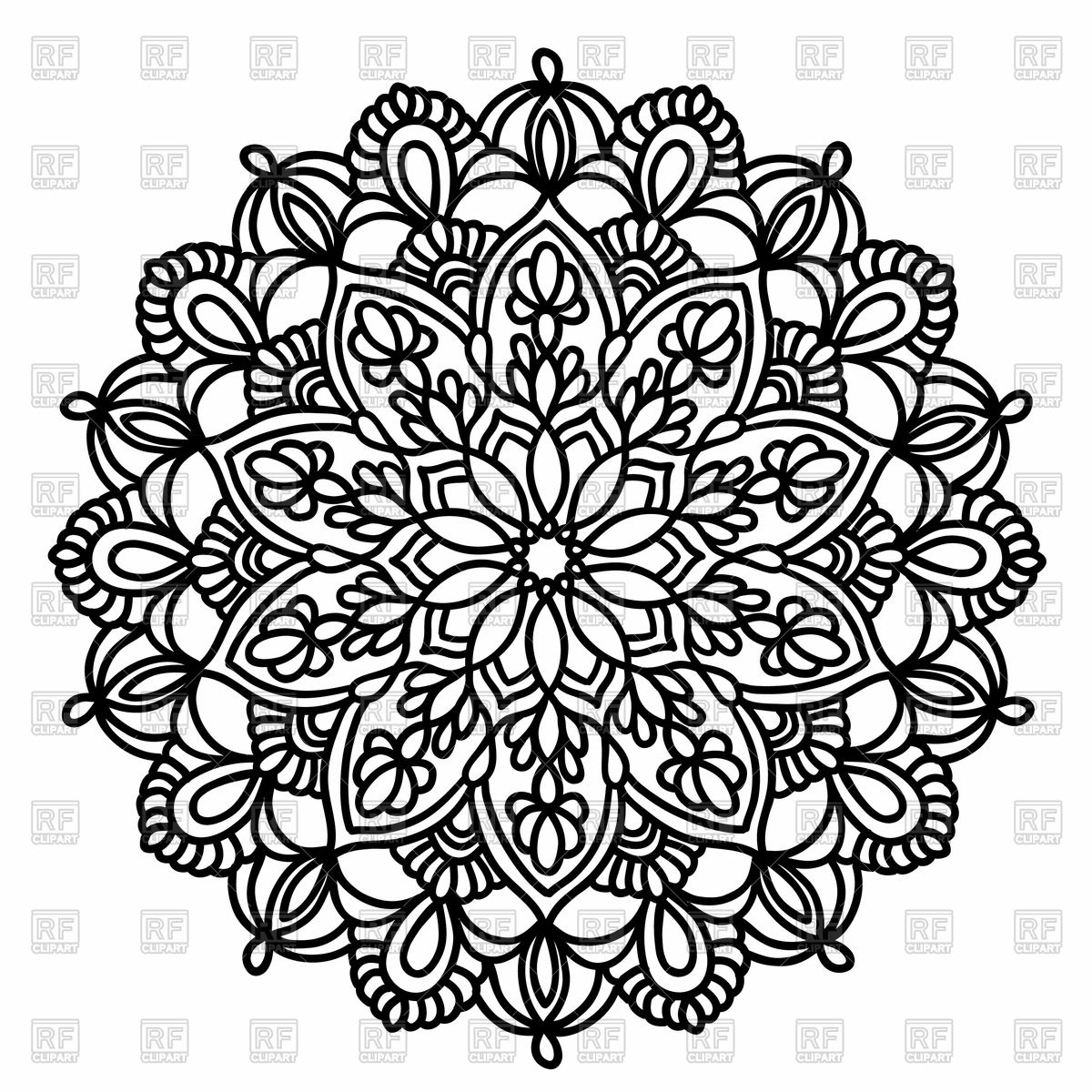 snowflake coloring page - ornamental round pattern with floral elements mandala vector clipart