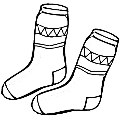 Socks Coloring Page - Kid socks Coloring Page