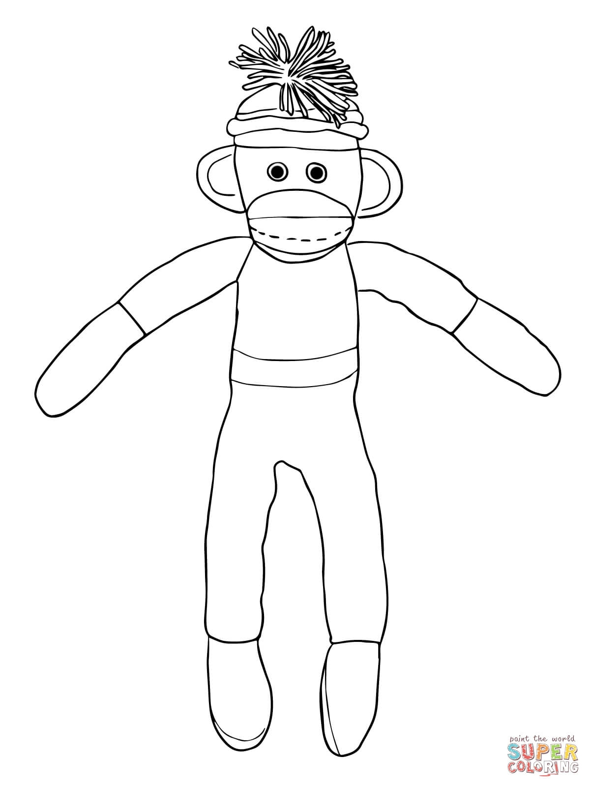 socks coloring page - sock monkey coloring pages