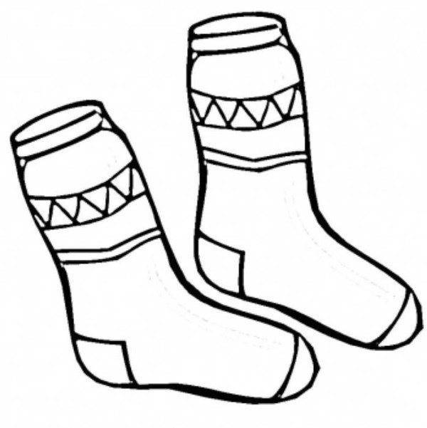 socks coloring page - socks winter clothes coloring page