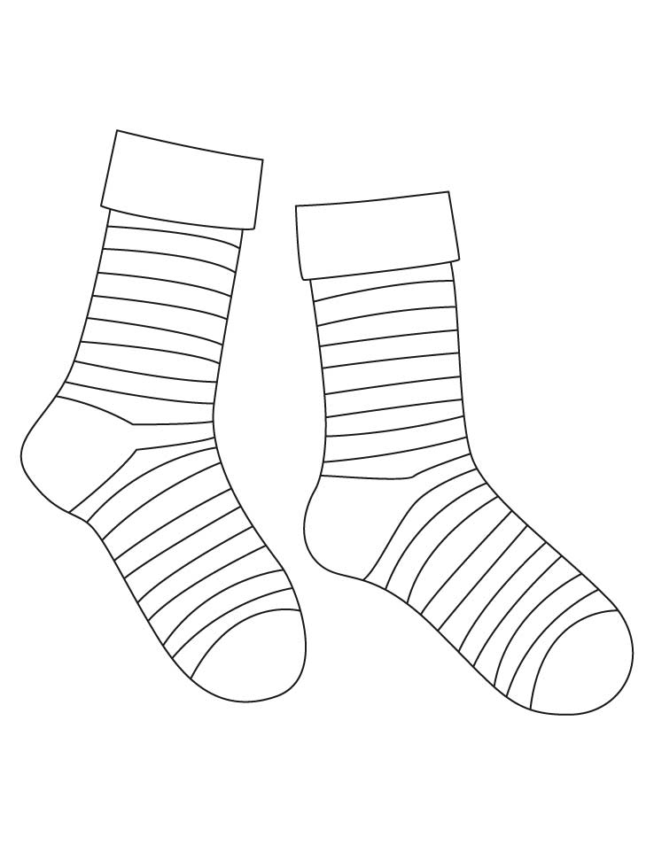 socks coloring page - striped socks coloring pages 1d3698
