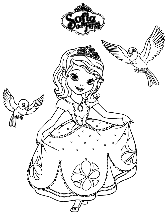sofia coloring pages - sofia the first robin and mia