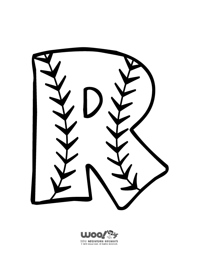 Softball Coloring Pages - Baseball Alphabet Letter R Woo Jr Kids Activities