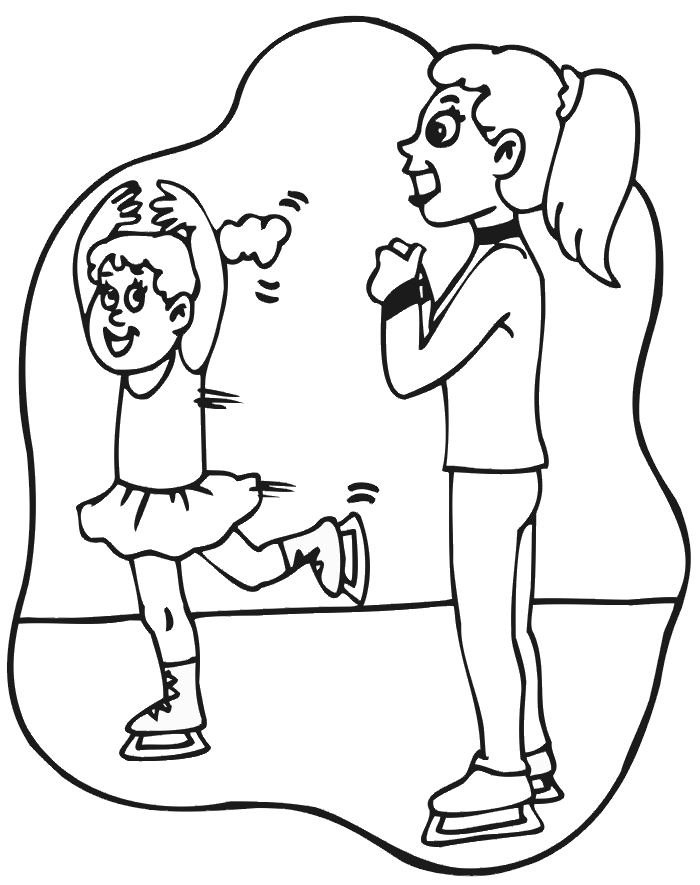 softball coloring pages - ice skating images