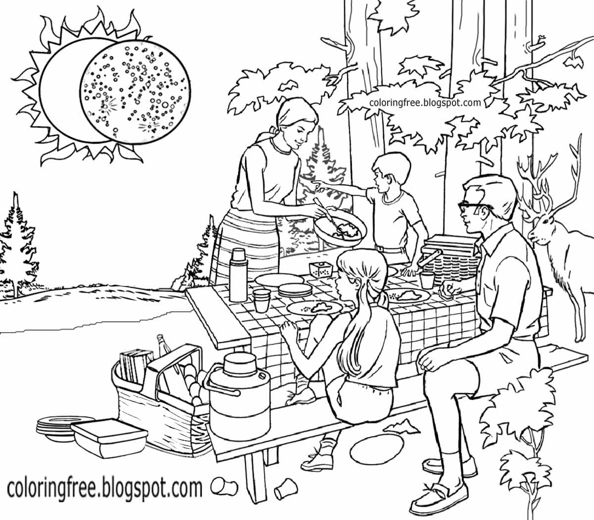 21 solar eclipse coloring page pictures