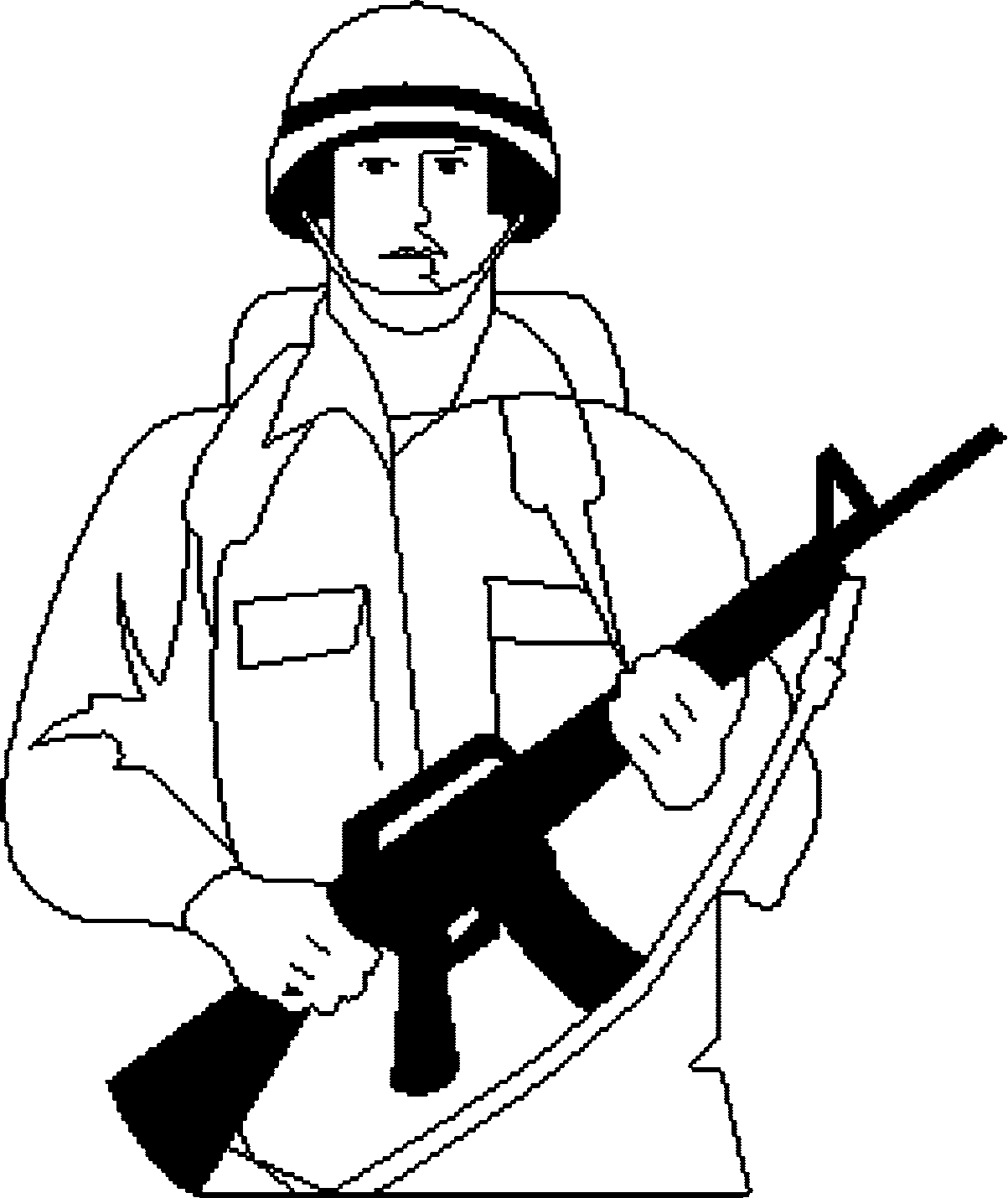Soldier Coloring Pages - sol R Pixel Coloring Page