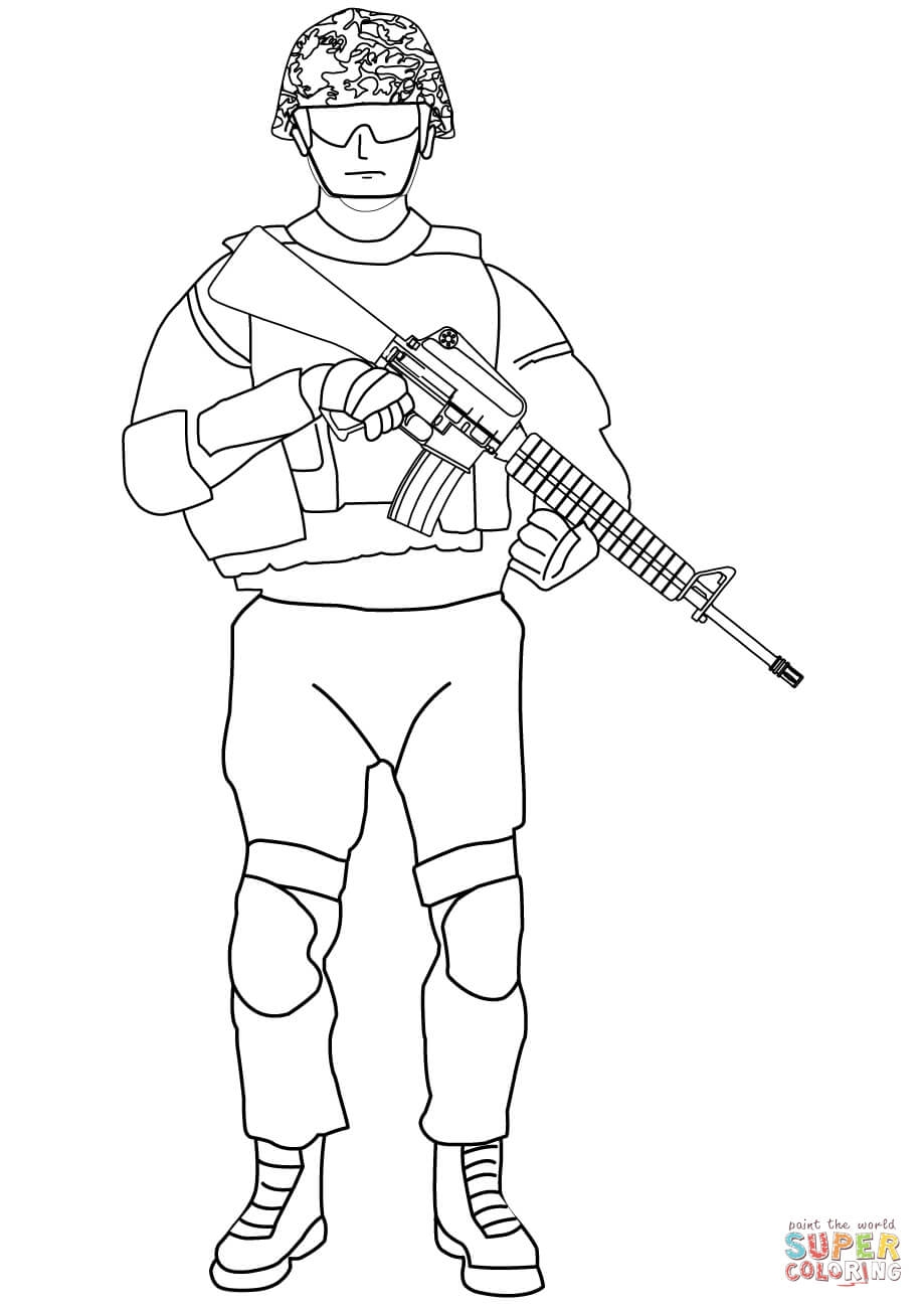 Soldier Coloring Pages - sol R with M16 Coloring Page