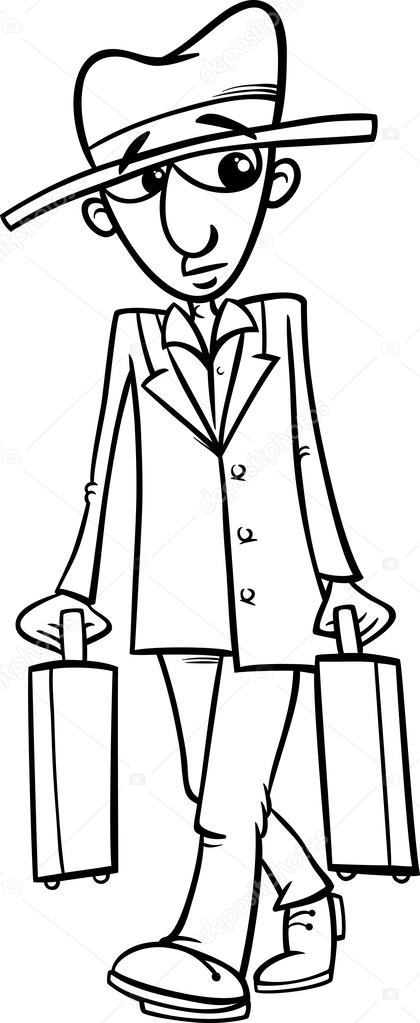 sombrero coloring page - stock illustration man with suitcases coloring page