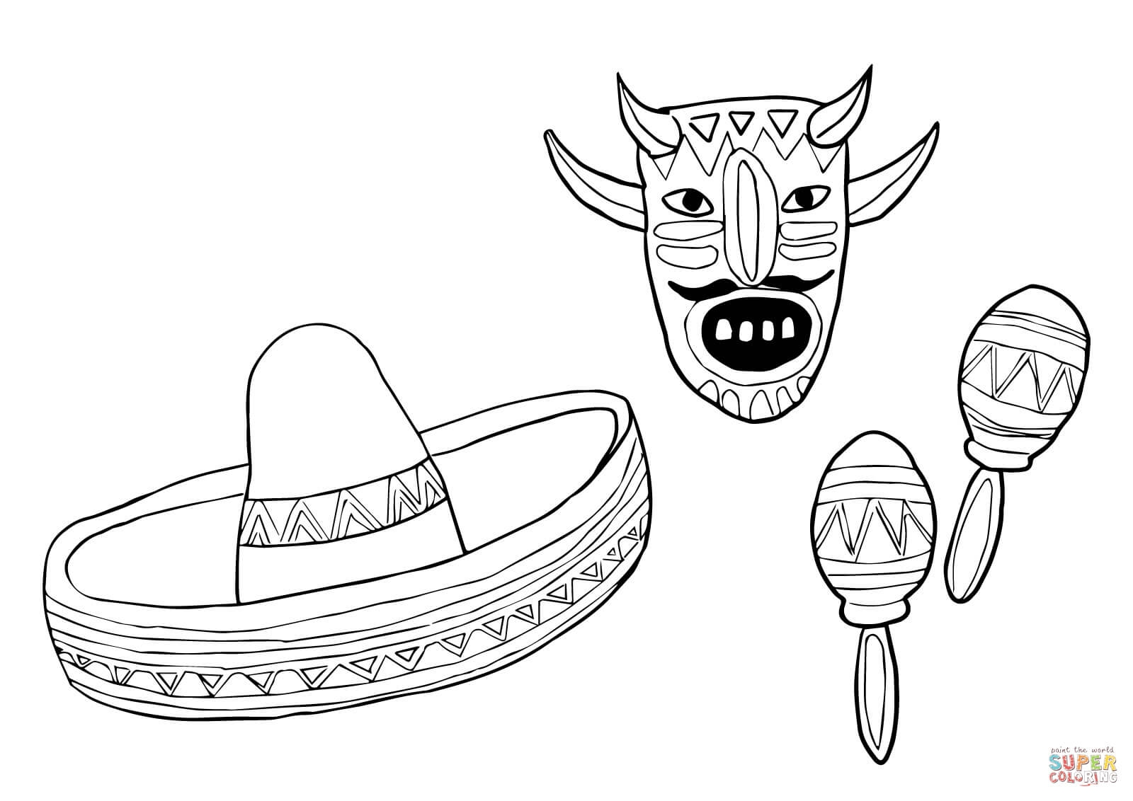 Sombrero Coloring Page - Mask sombrero and Maracas Coloring Line