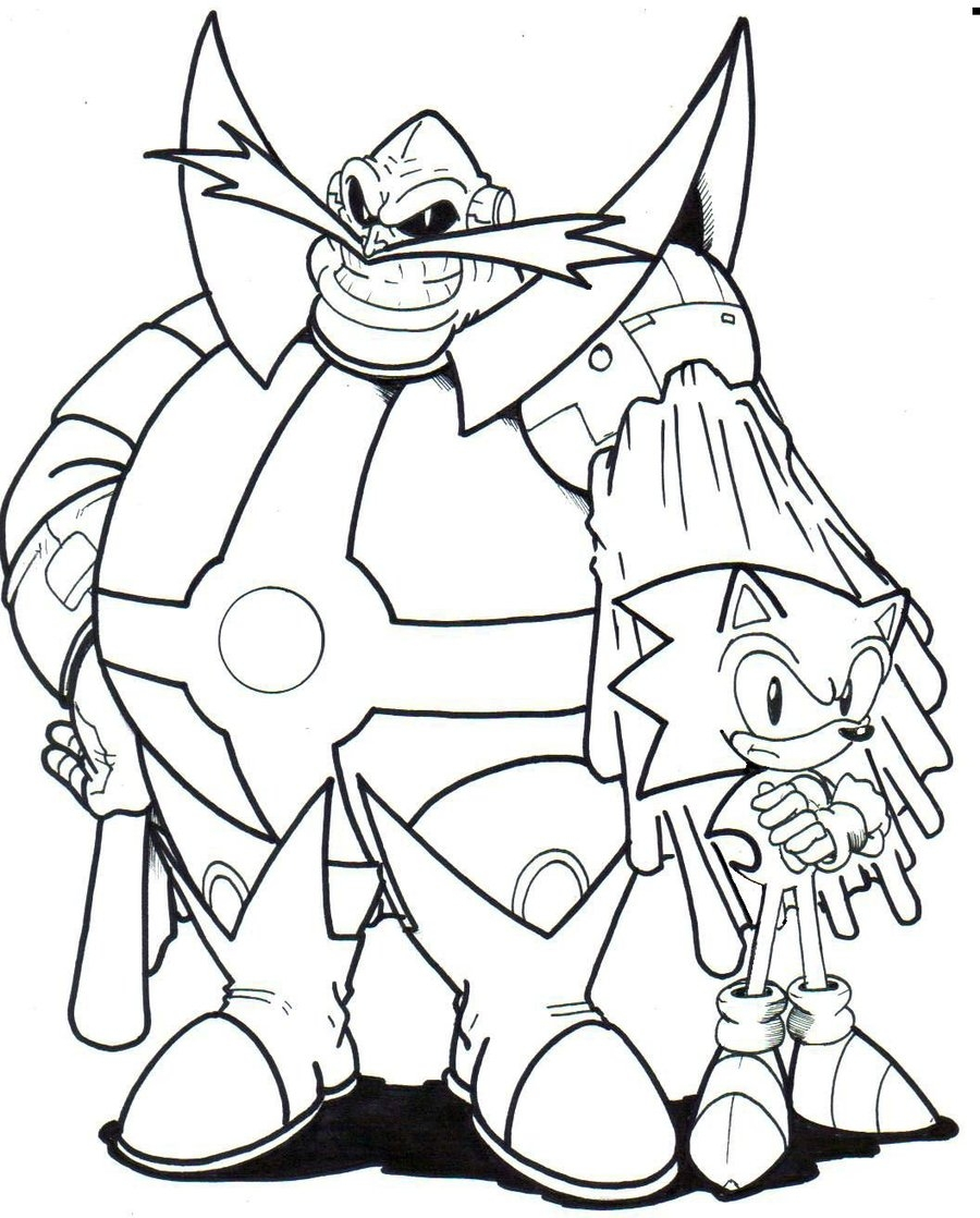 sonic boom coloring pages - archie dr ivo robotnik and sonic la