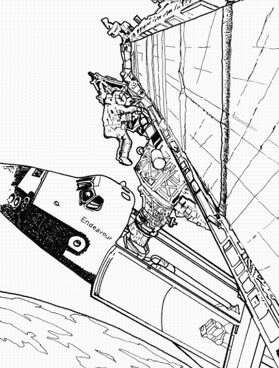 space shuttle coloring pages - 太空飞船简笔画大图