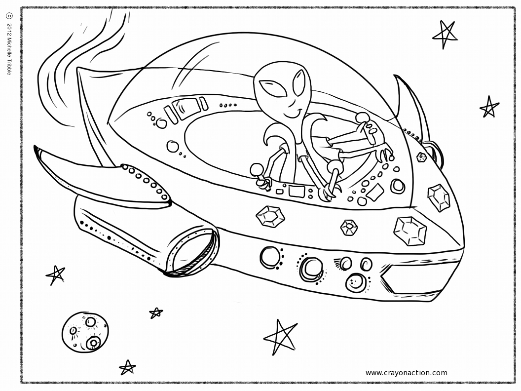 spaceship coloring pages - alien in spaceship coloring page