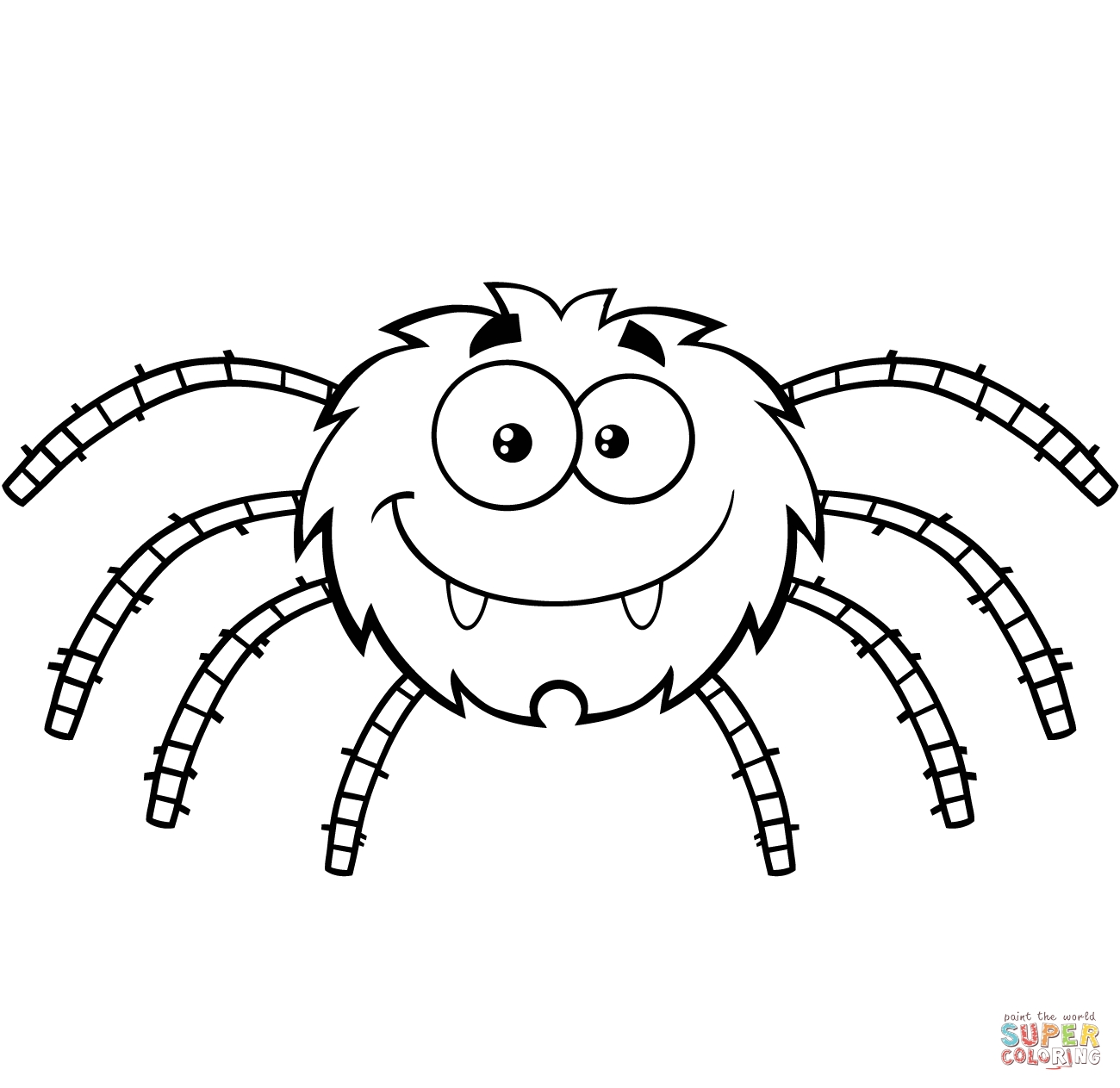 spider coloring pages - funny cartoon spider