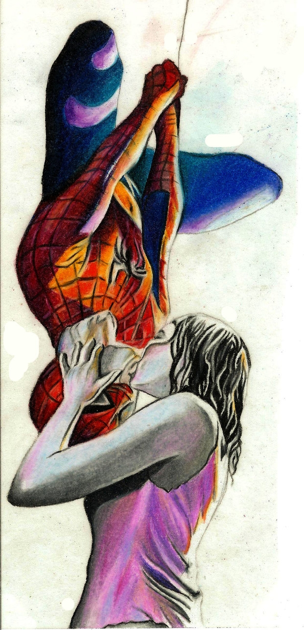 spider man homecoming coloring pages - Spiderman Kiss