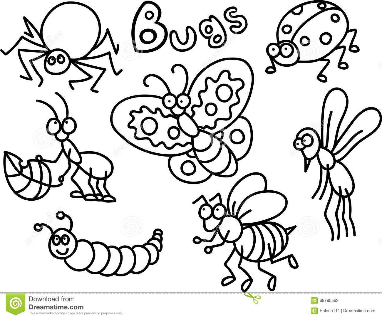 spider web coloring page - stock illustration bugs coloring page children lot cute cartoon style image