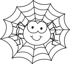 Spider Web Coloring Page - Cute Spider On Pinterest