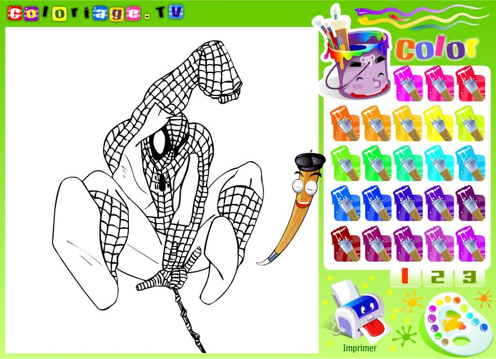 spider web coloring page - spiderman coloriage tv