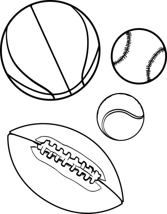 sports coloring pages - sports balls coloring page