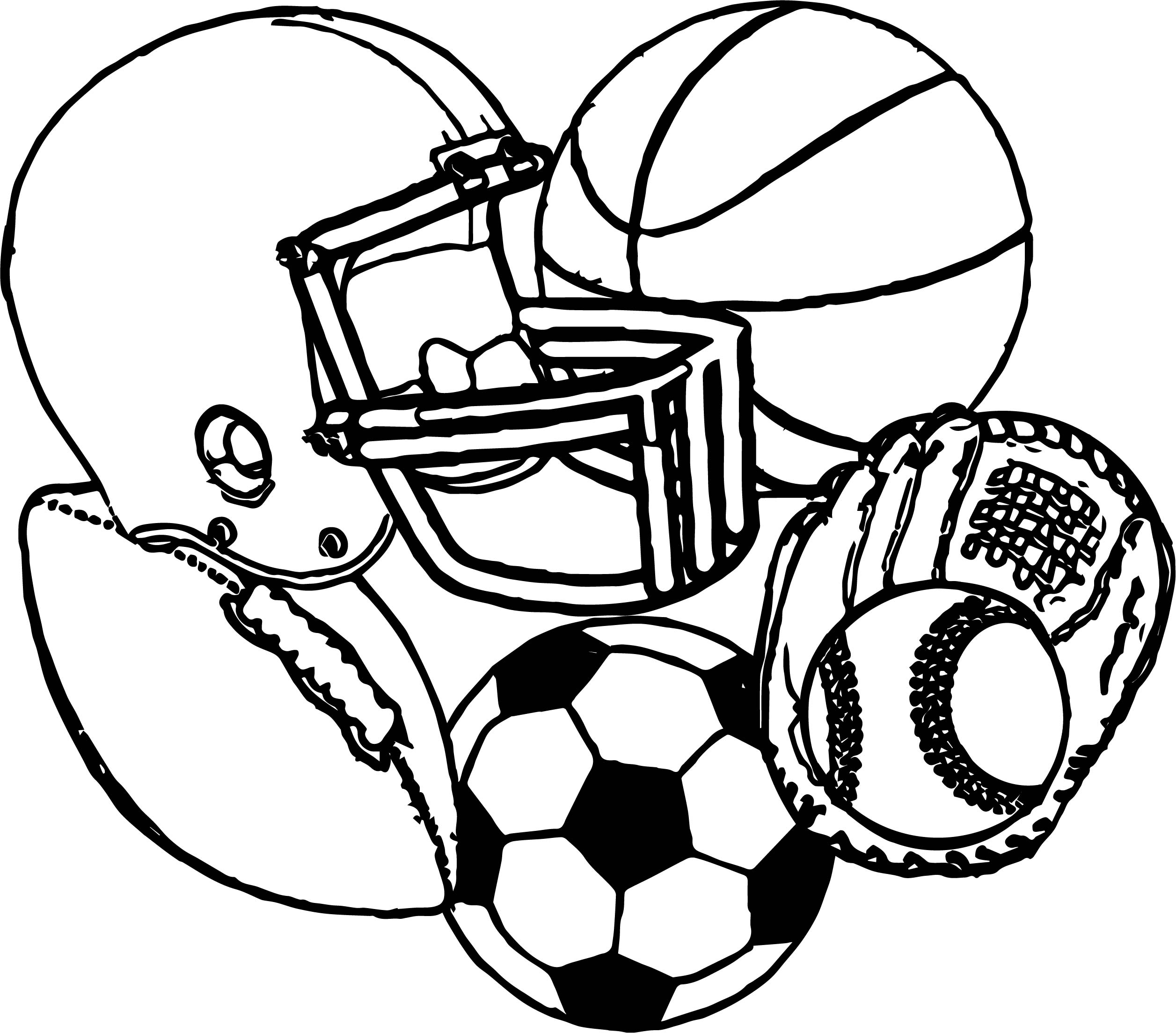 sports coloring pages - sports equipment football baseball basketball soccer coloring page