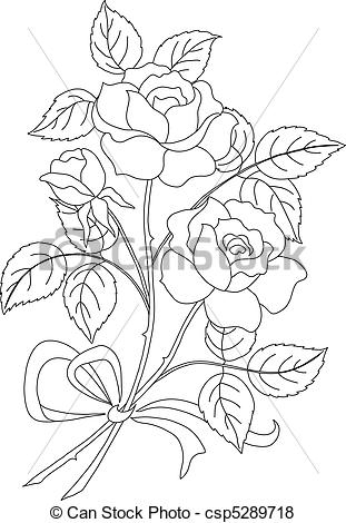 spring adult coloring pages - fleurs rose contour