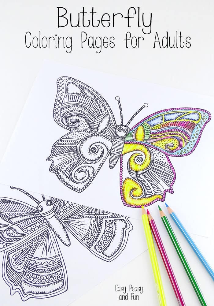 spring coloring pages for adults - butterfly coloring pages for adults