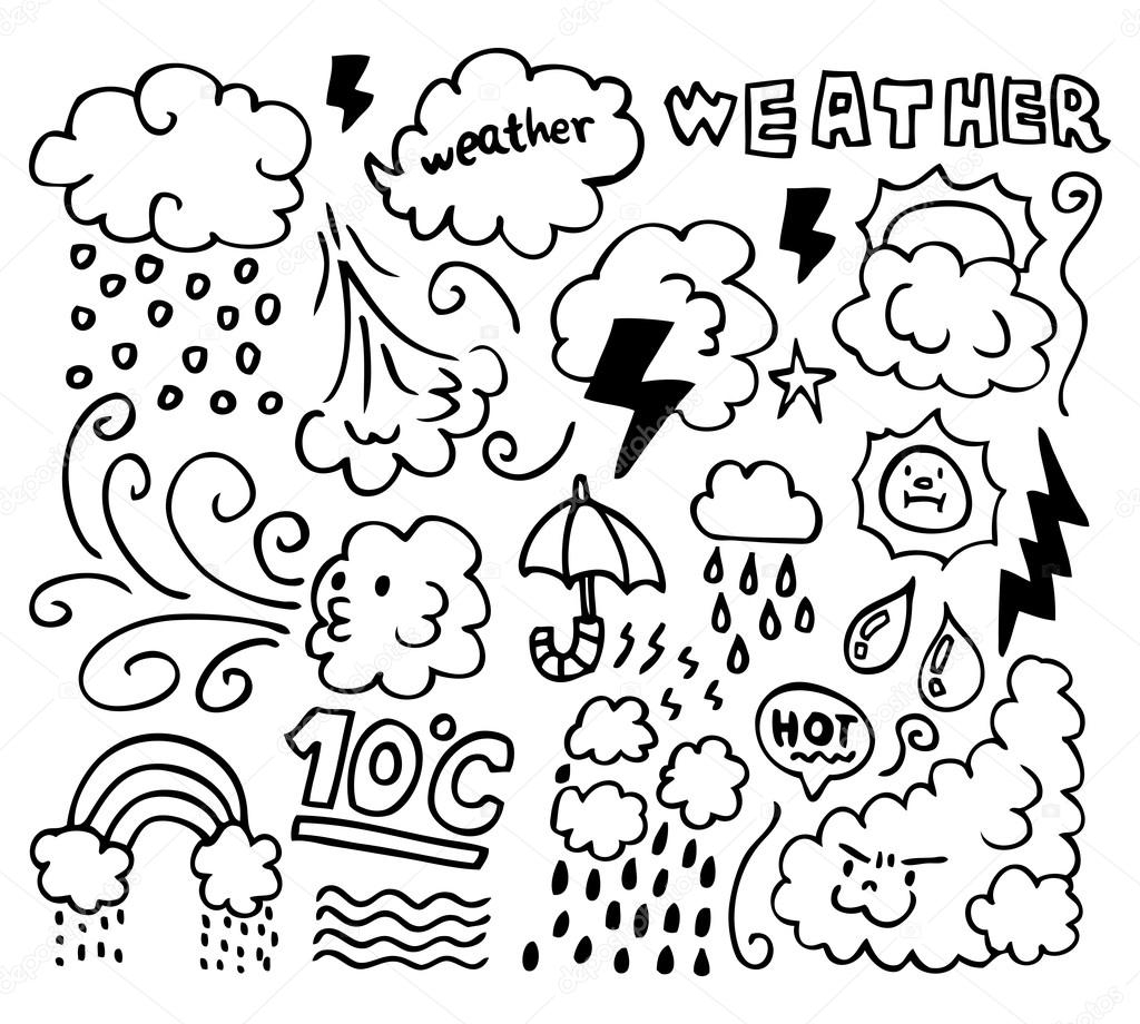 spring coloring pages for adults - stock illustration set of grunge weather hand